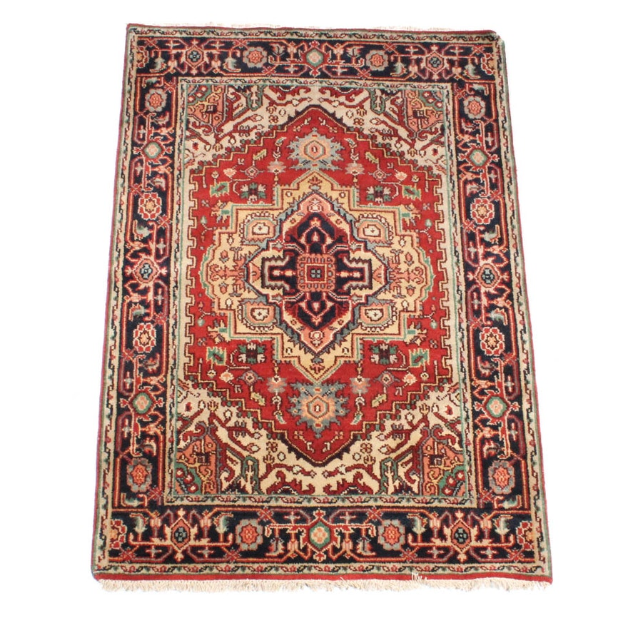 Hand Knotted Indo Persian Obeetee Wool Area Rug Ebth: 4' X 6' Hand-Knotted Indo-Persian Heriz Serapi Rug