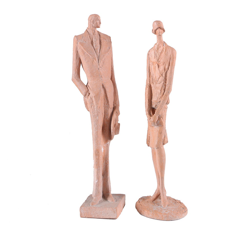 "Austin Productions 1974 Chalkware Figures After Klara Sever ""Flapper"" and ""Gatsby"""