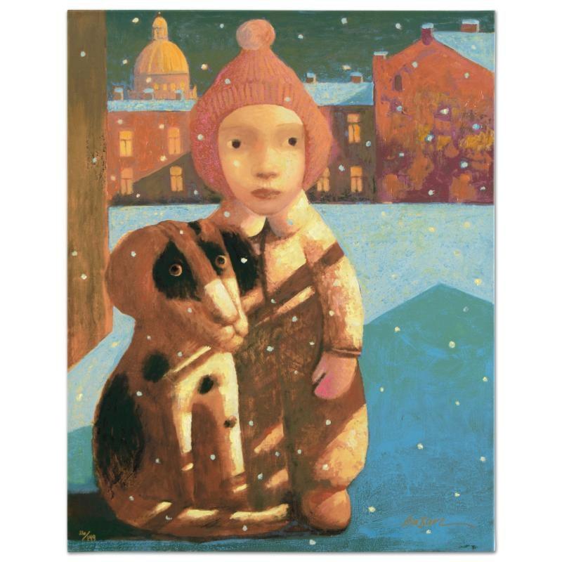 "Sasha Bassari  ""Best Friends"" Limited Edition Hand Embellished Serigraph on Canvas"