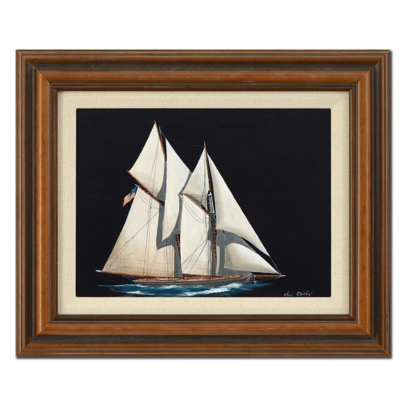 "Alex Blokhin ""Two Masted Schooner"" Framed Oil Painting on Canvas"
