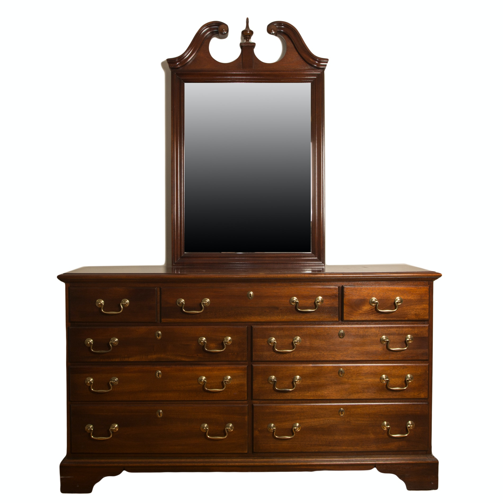 """Georgian Manor"" Dresser with Mirror by Dixie Furniture"