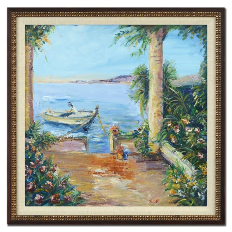 "Elliot Fallas ""La Dolce Vita"" Framed Original Oil Painting on Canvas"