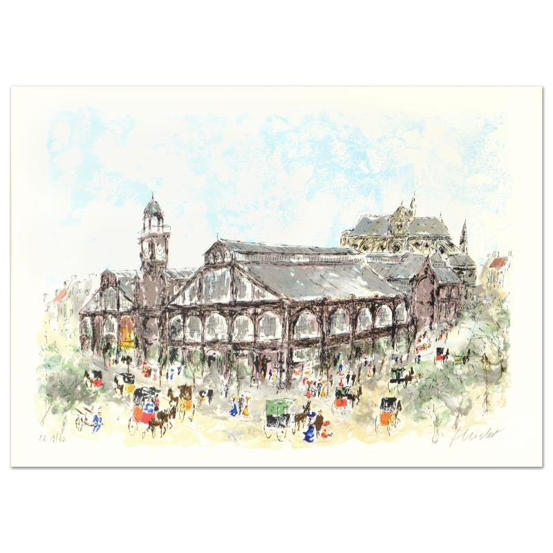 "Urbain Huchet Limited Edition Lithograph on Paper ""Les Halles"""