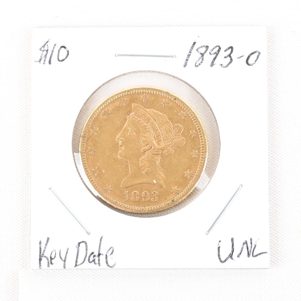 1893-O Liberty Head Gold Ten Dollar Coin