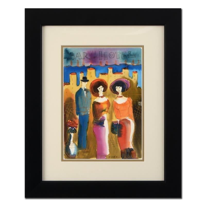 "Moshe Leider ""Bar Hotel"" Framed Original Watercolor Painting"