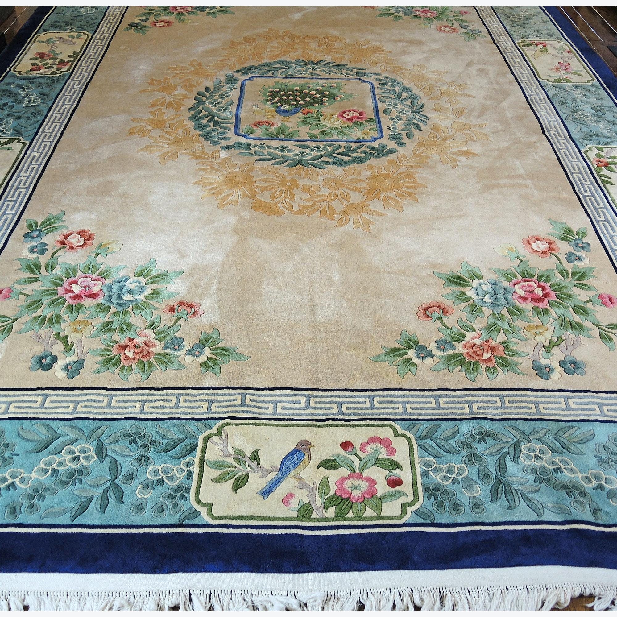 Finely Hand-Knotted Chinese Carved Pictorial Area Rug with Peacock Design