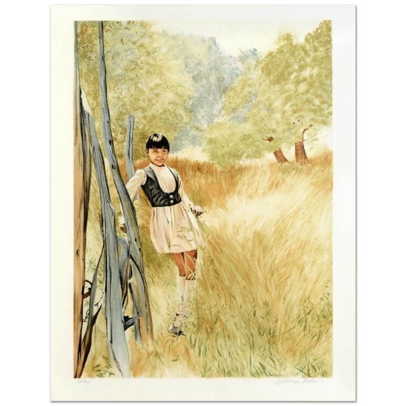 """William Nelson """"Girl in Meadow"""" Limited Edition Serigraph"""