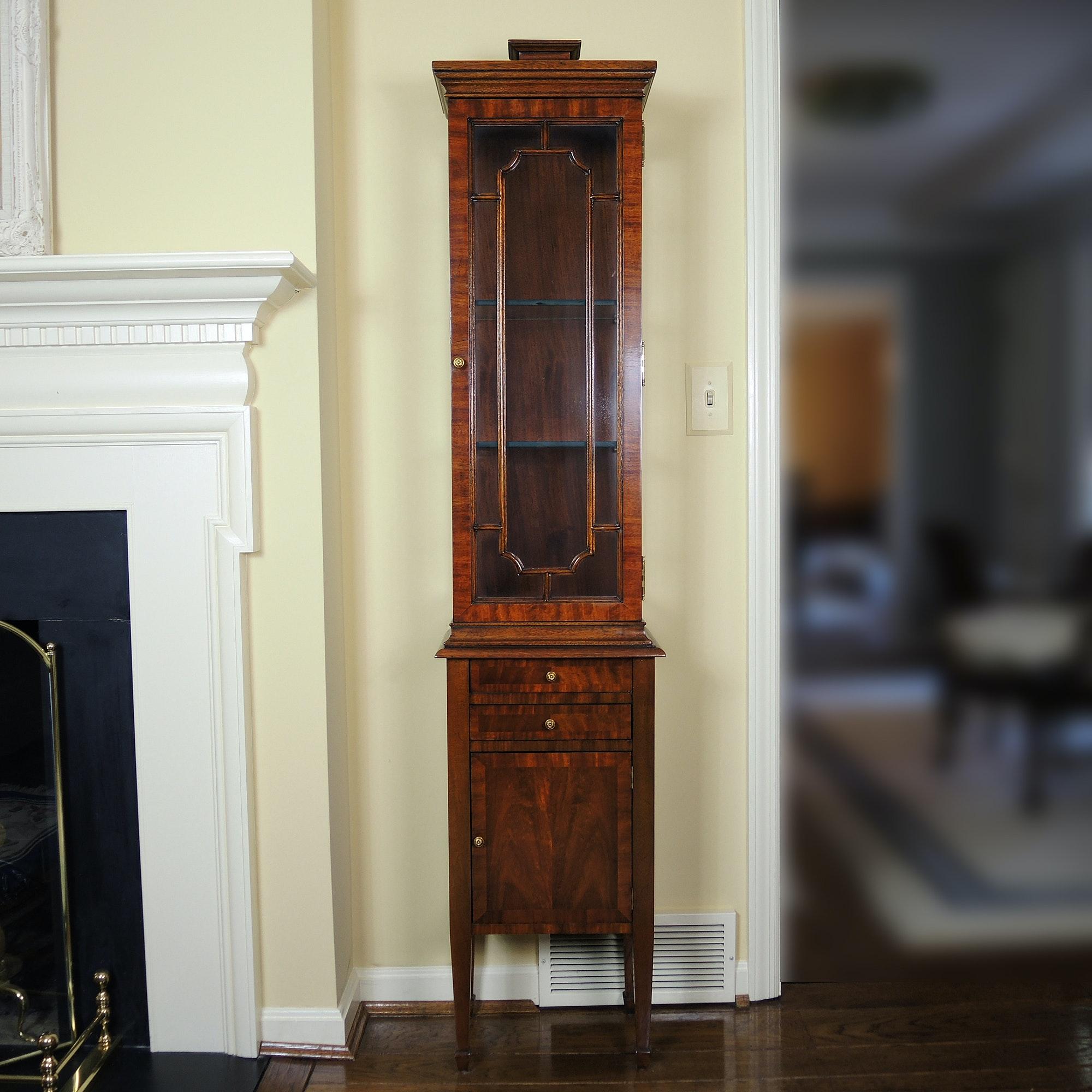 Maitland-Smith Flamed Mahogany Display Curio Cabinet