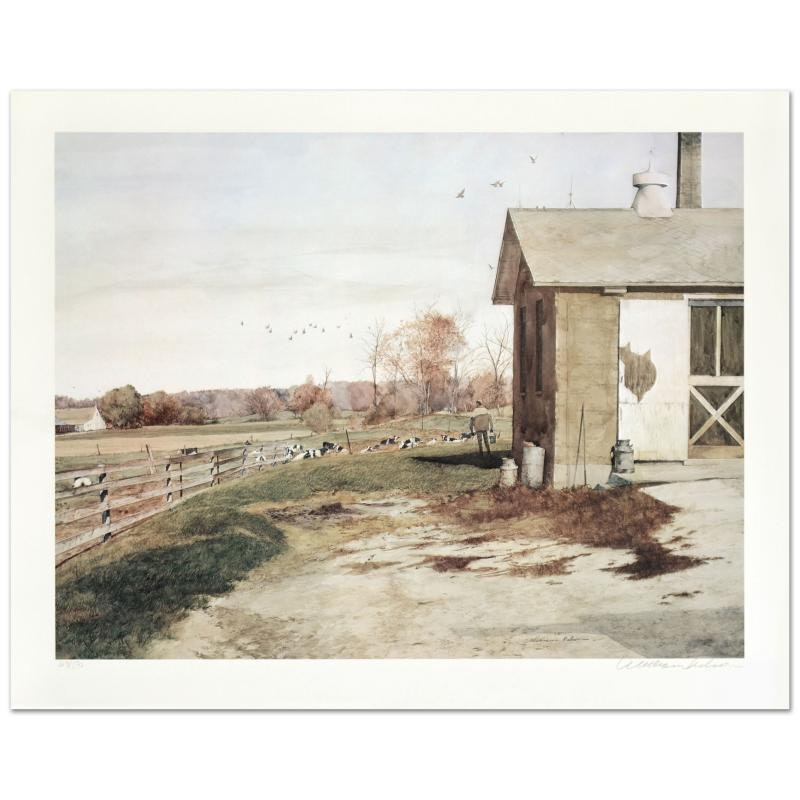 "William Nelson Offset Lithograph on Paper ""Yellow Brick Barn"""