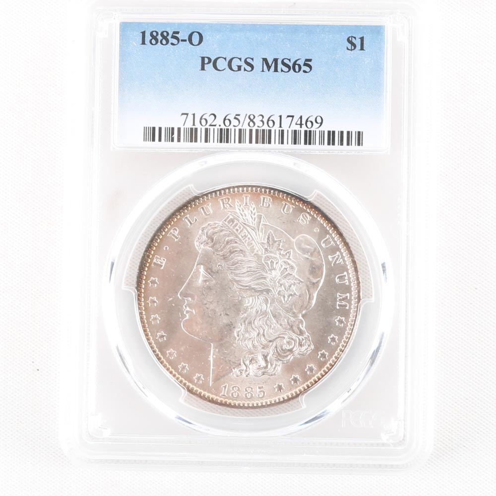 Encapsulated 1885-O Morgan Silver Dollar Graded MS65 by PCGS