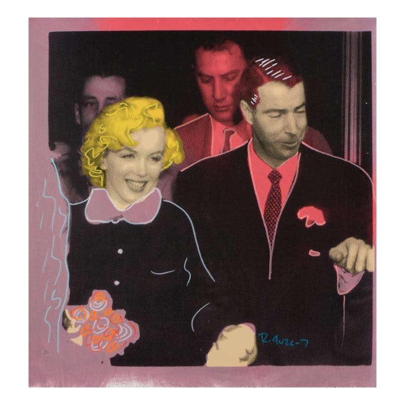 "Ringo  ""Mr. and Mrs. DiMaggio"" Mixed Media Painting on Canvas"