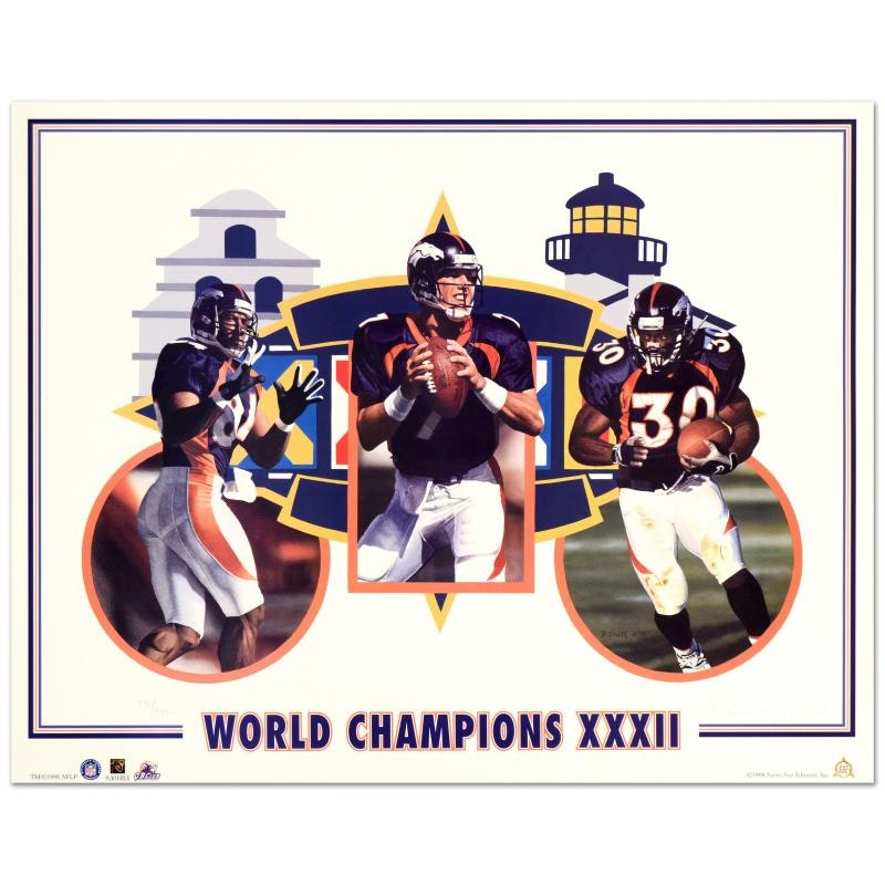 "Daniel M. Smith ""World Champion XXXII (Broncos)"" Limited Edition Lithograph"