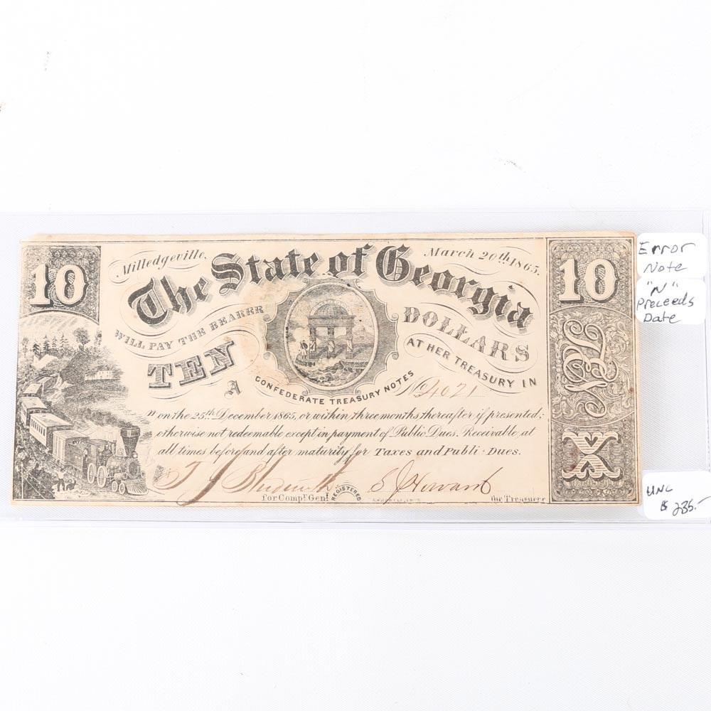 1865 Ten Dollar State of Georgia Confederate Treasury Note