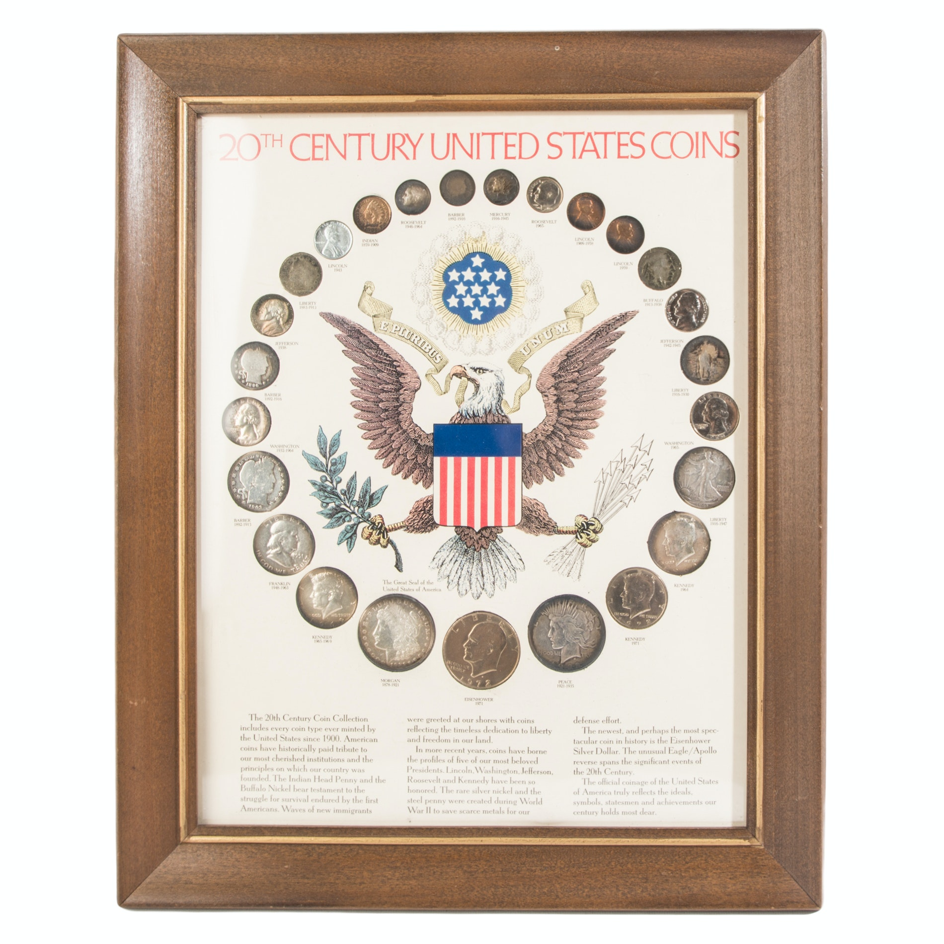 "Framed ""20th Century United States Coins"""