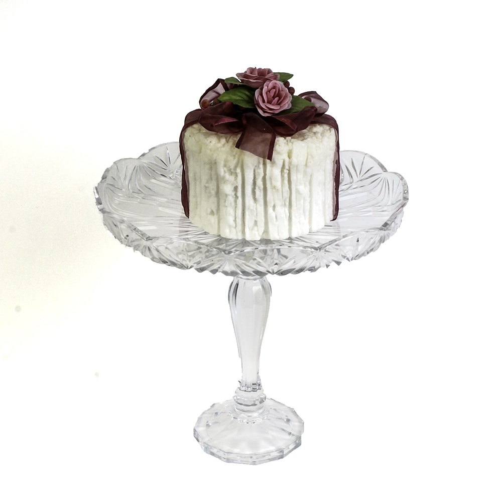 Pedestal Glass Cake Stand with Figural Cake Candle