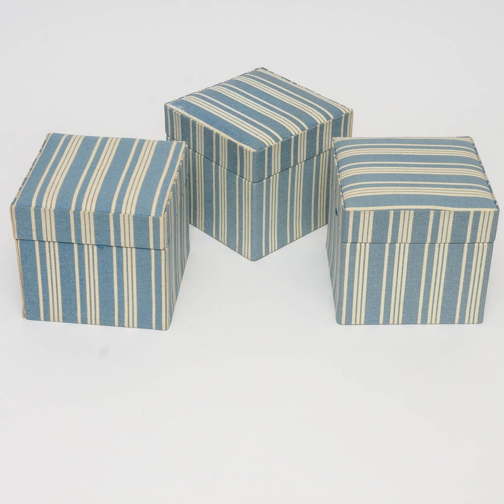 Collection of Striped Canvas Boxes