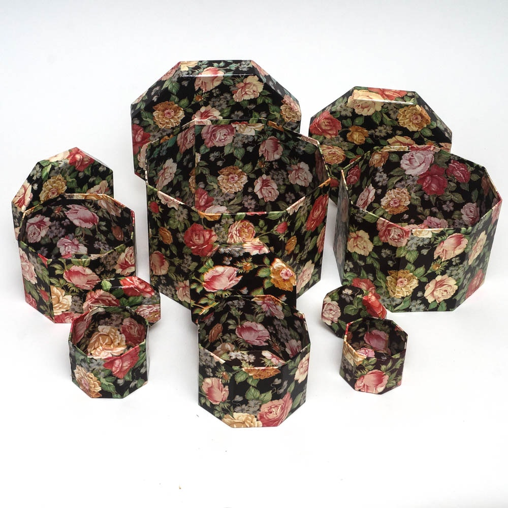 Collection of Octagonal Floral Nesting Boxes