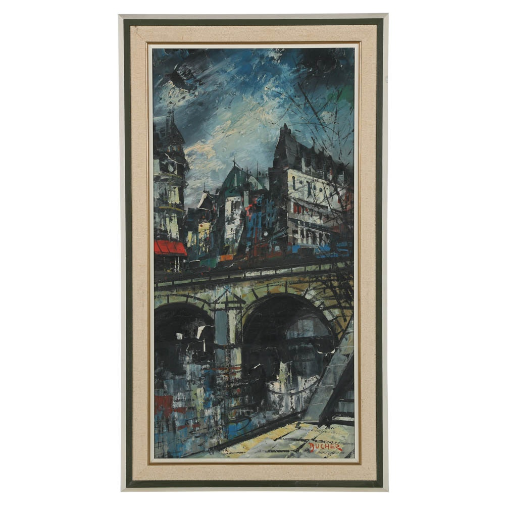 Bucher Vintage Oil Painting on Canvas of a Cityscape