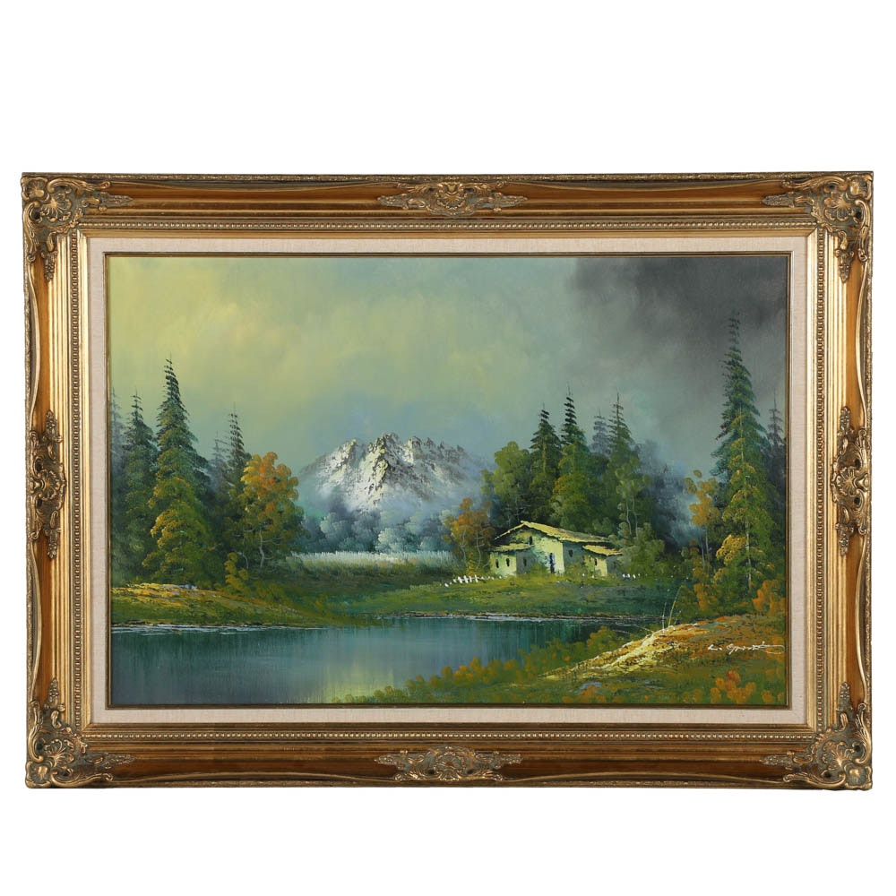 Large Oil Painting of Mountain Landscape