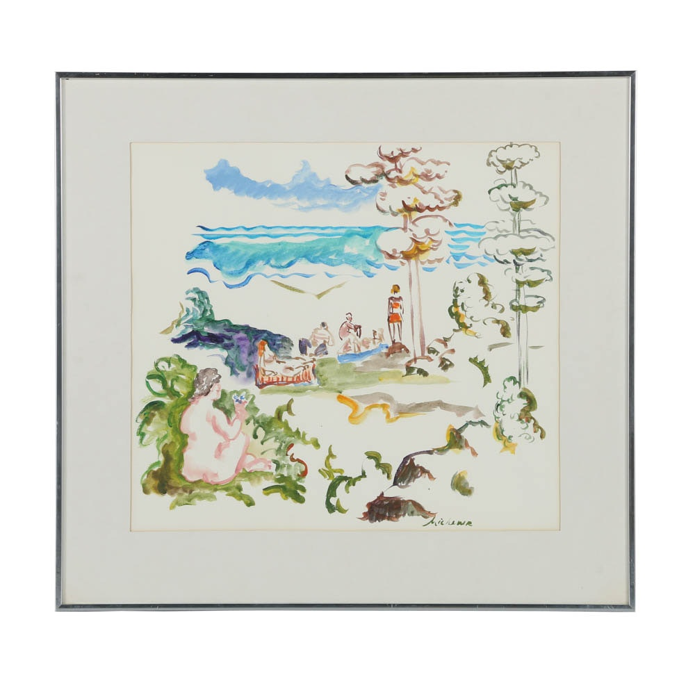 Michener Watercolor Painting on Paper of Figures on a Beach