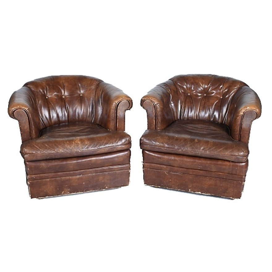 Vintage Leather Barrel Back Club Chairs