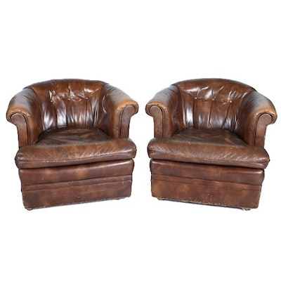 Vintage Leather Barrel-Back Club Chairs
