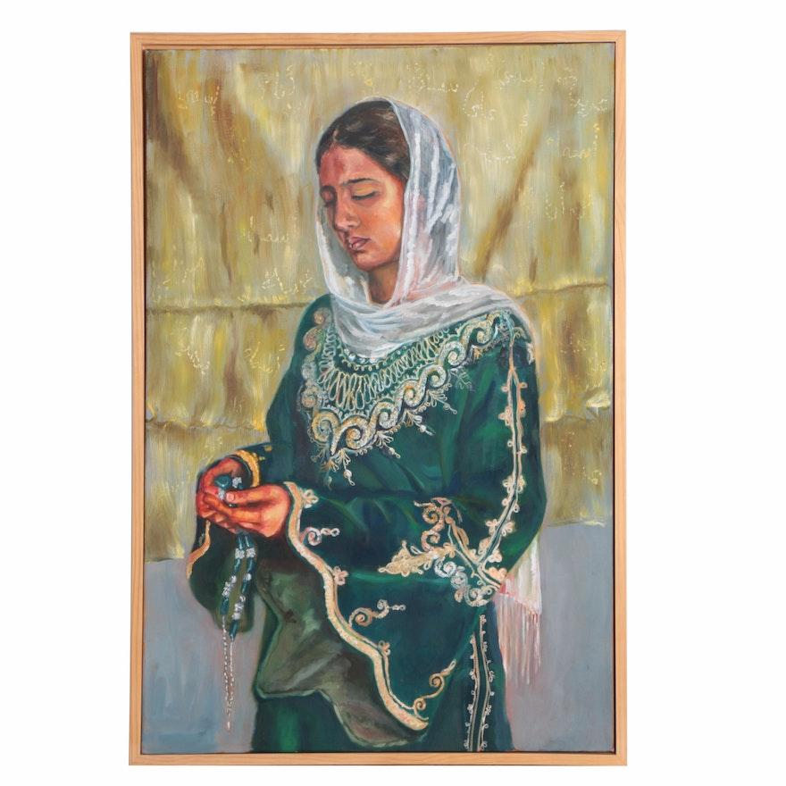 Oil Painting of a Praying Woman by Asma al-Wadidi