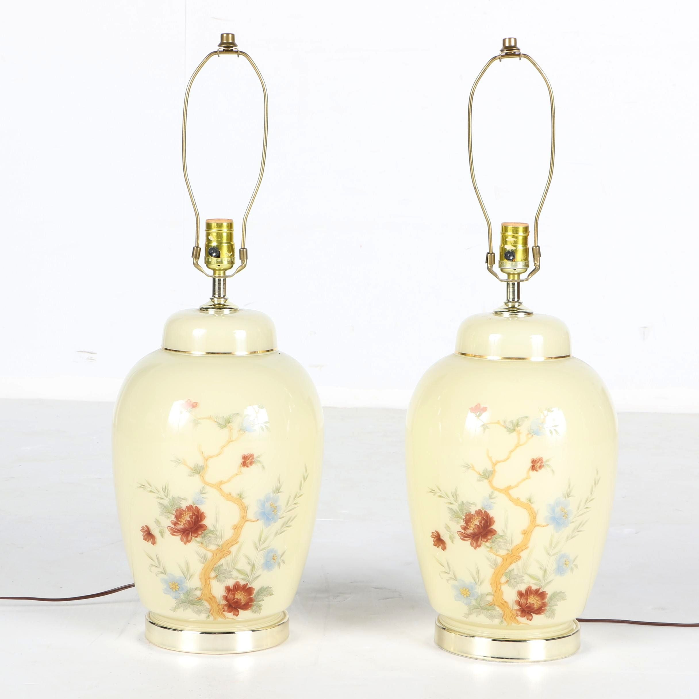 White Ceramic Floral Table Lamps