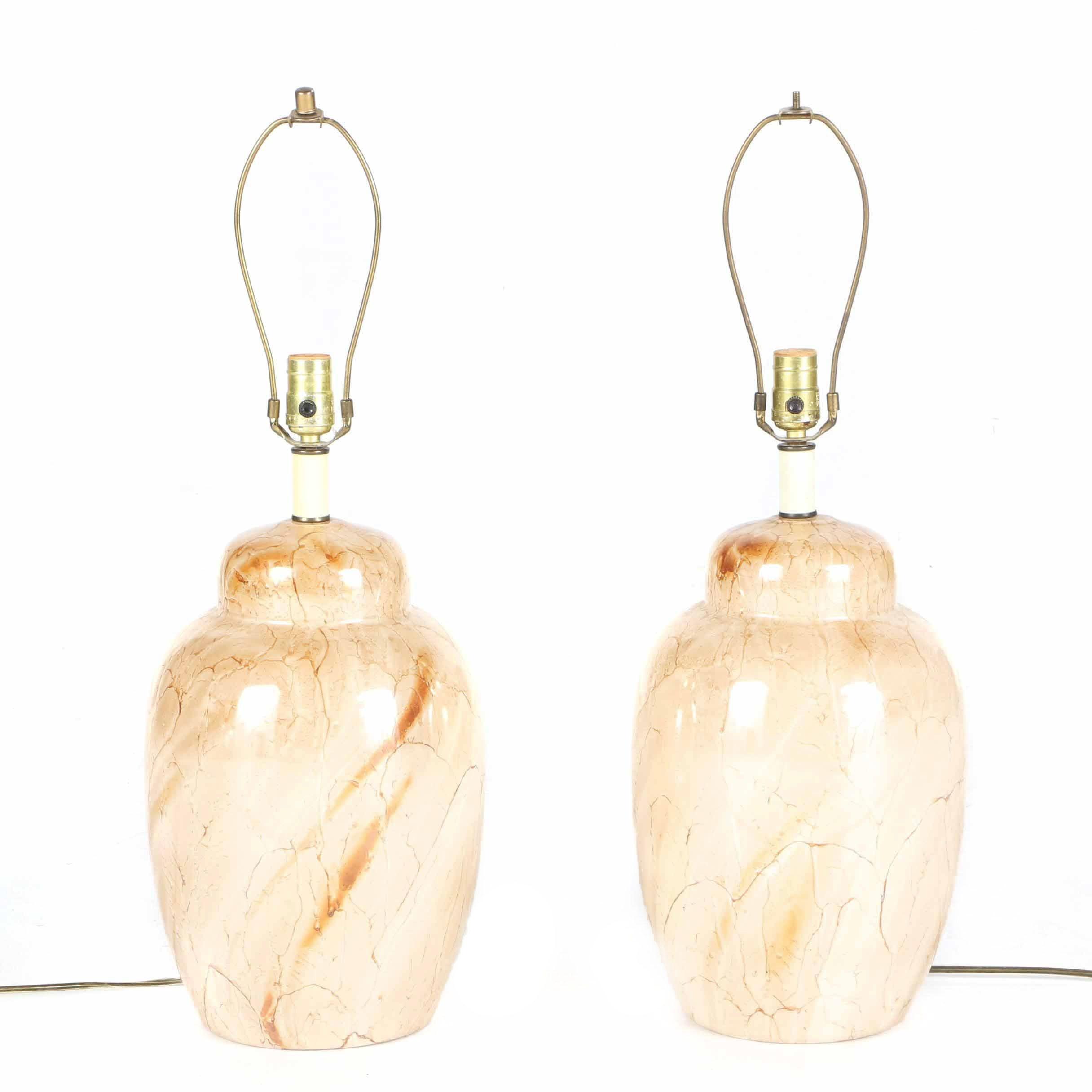 Pair of Matching Cream Ceramic Table Lamps