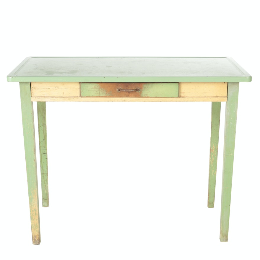 Vintage Kitchen Work Table With Enamel Top Circa 1930s