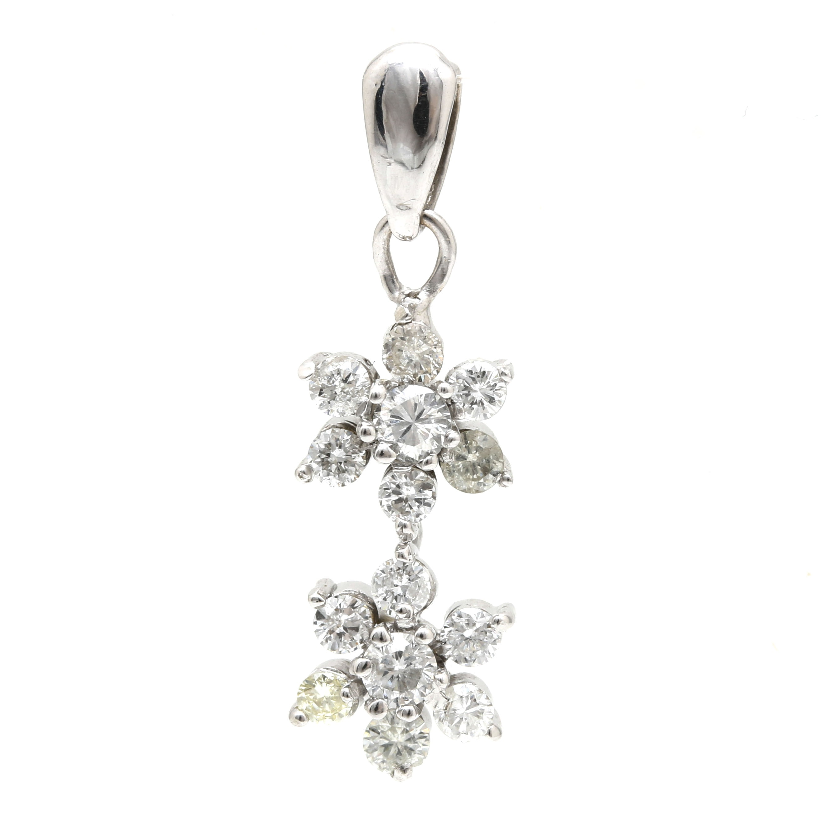 14K White Gold Diamond Floral Drop Pendant
