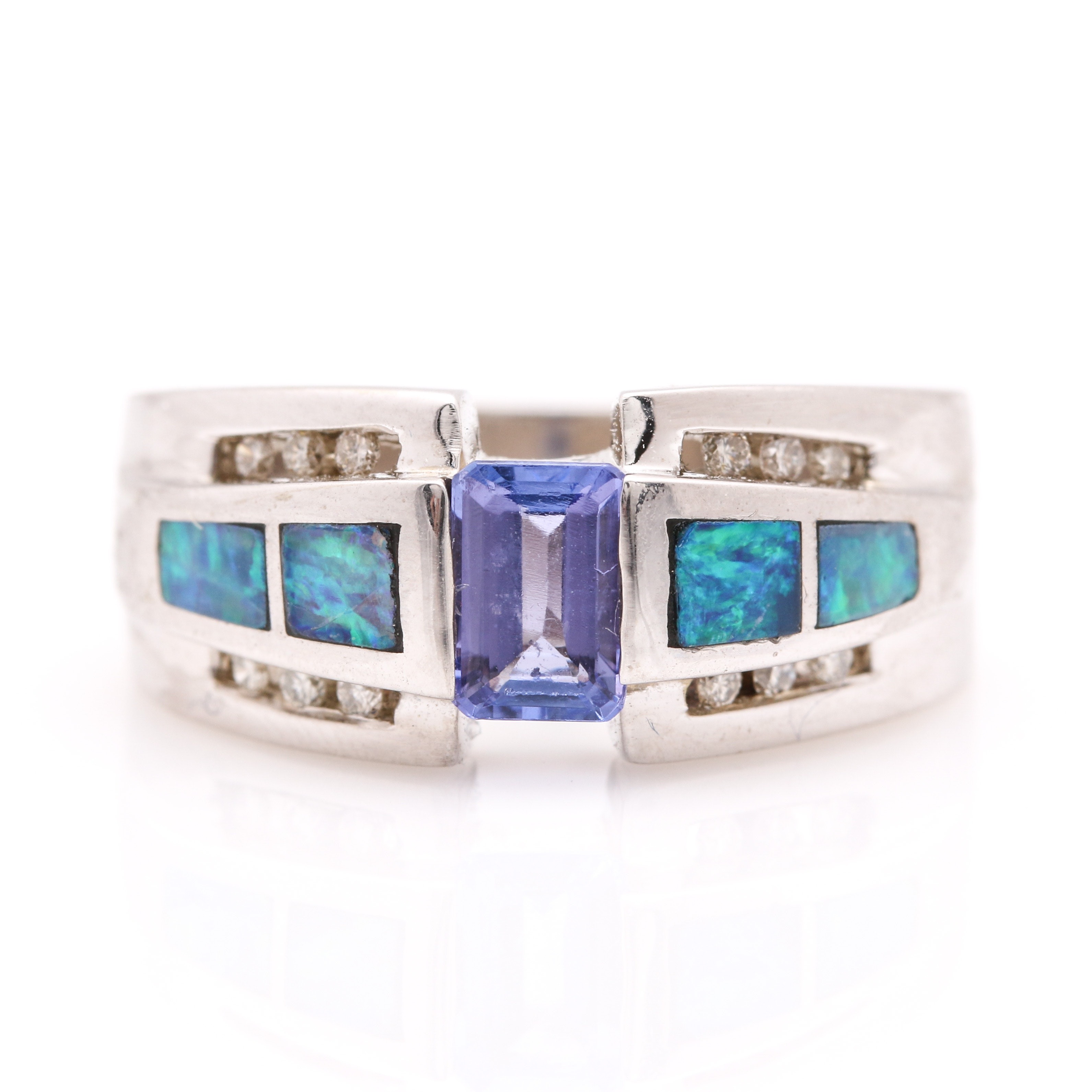 14K White Gold Tanzanite, Opal Doublet, and Diamond Ring