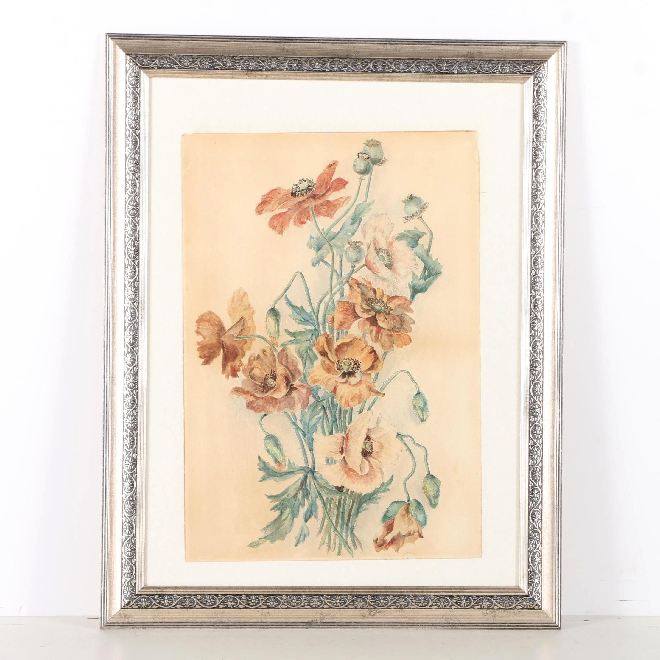 Watercolor Painting on Paper of Orange Flowers