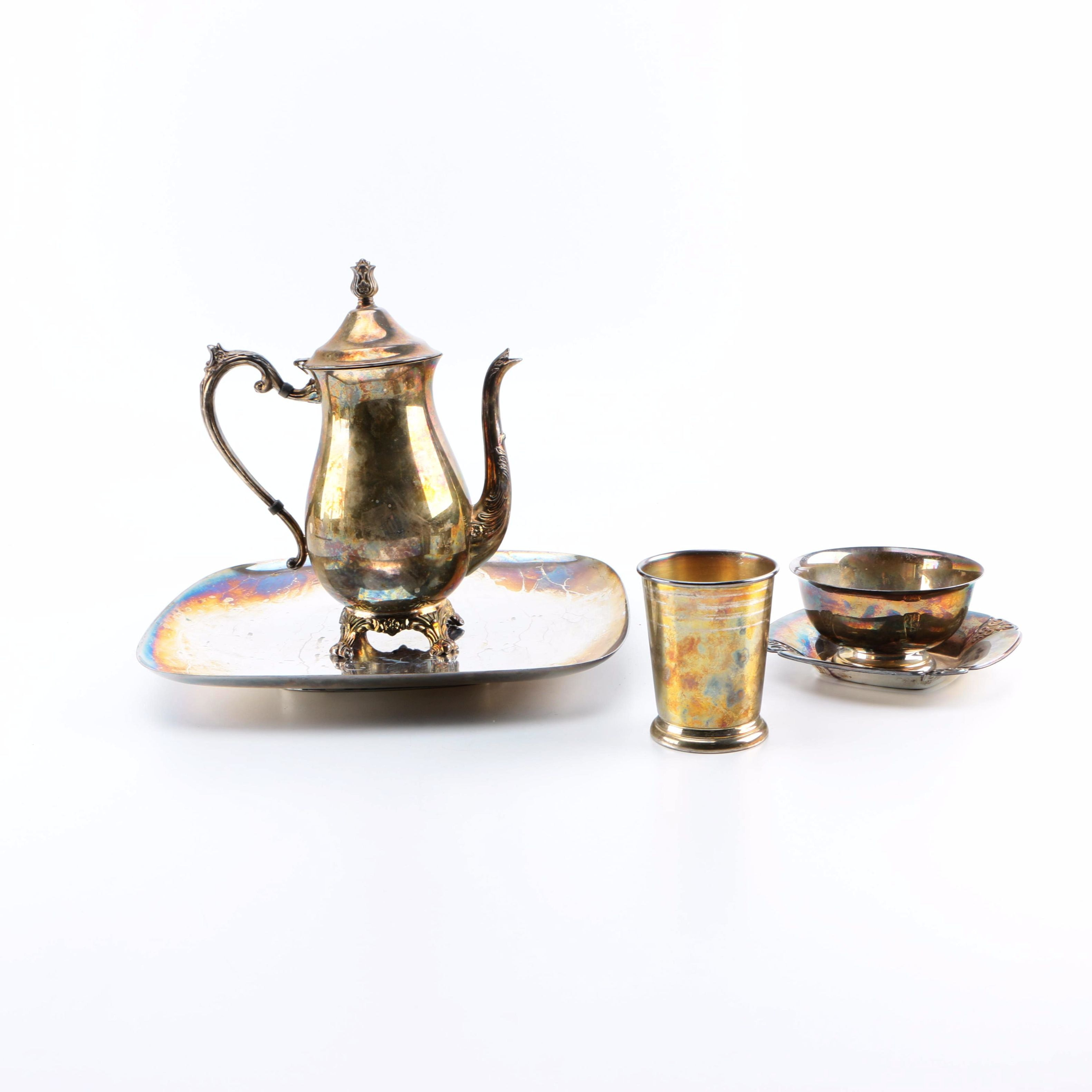 Silver Plate Coffee Pot and Other Tableware