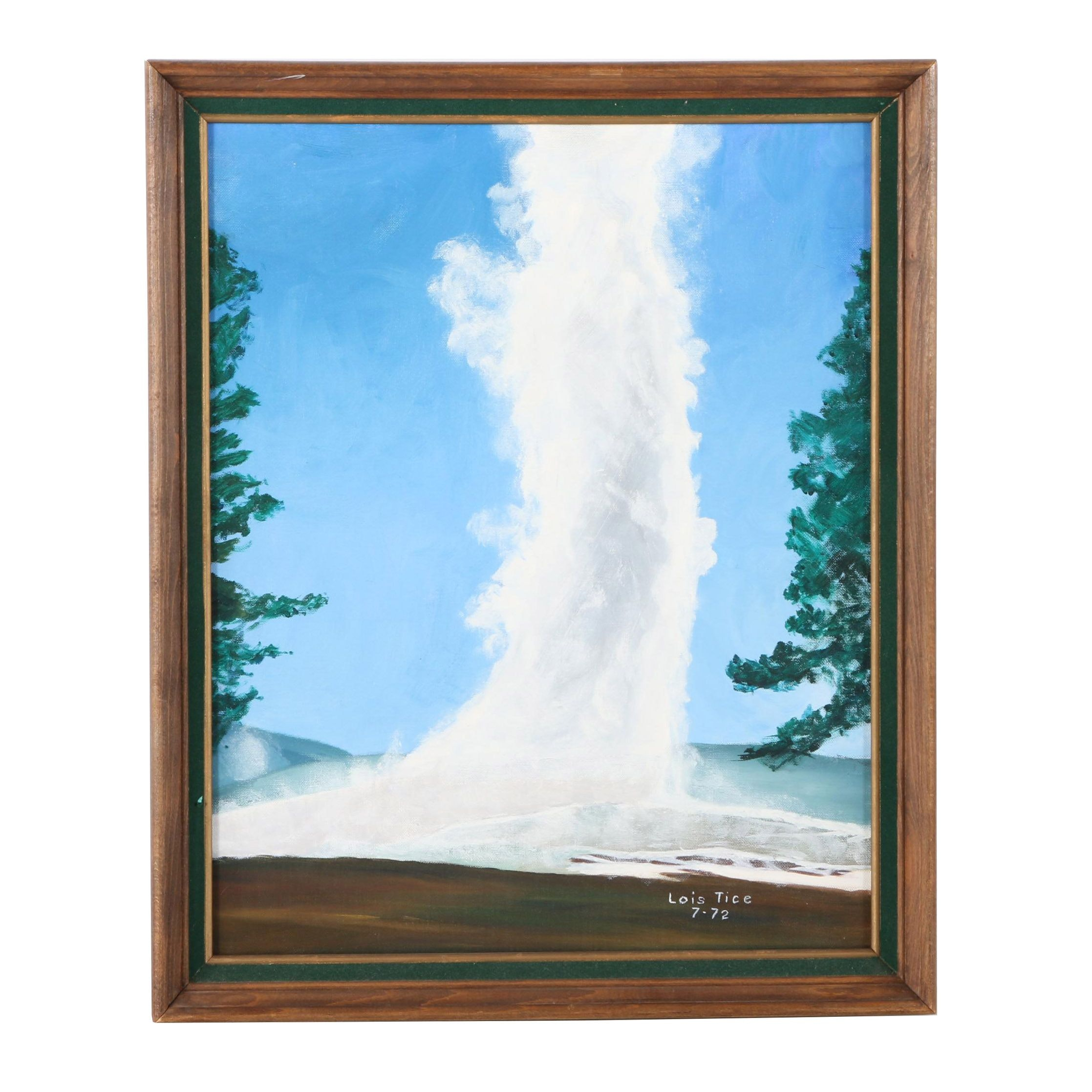 "Lois Tice Oil Painting on Canvas Board ""Old Faithful"""