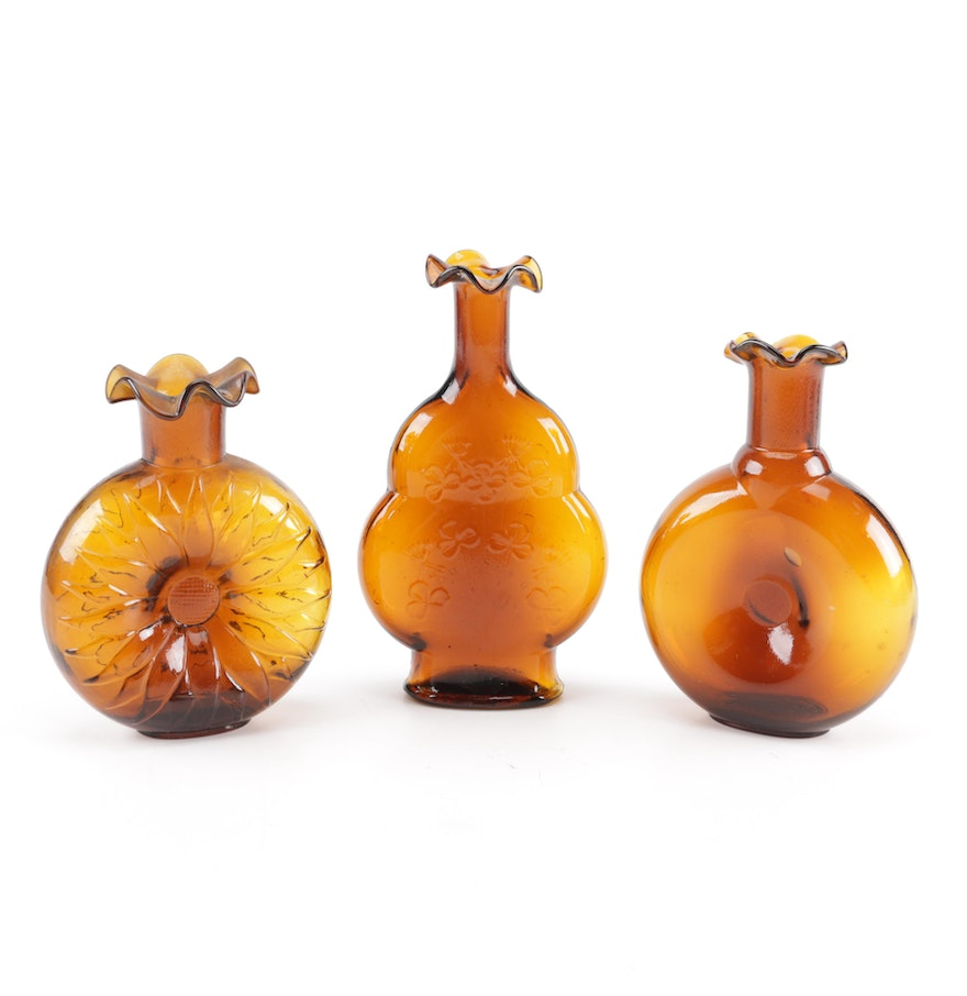 Assortment of amber colored glass vases ebth assortment of amber colored glass vases reviewsmspy