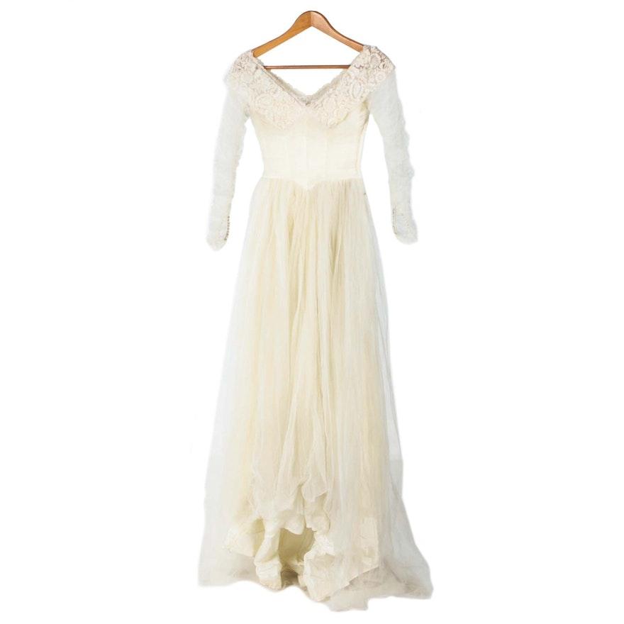 Vintage Tulle and Satin Wedding Dress by Bonwit Teller : EBTH