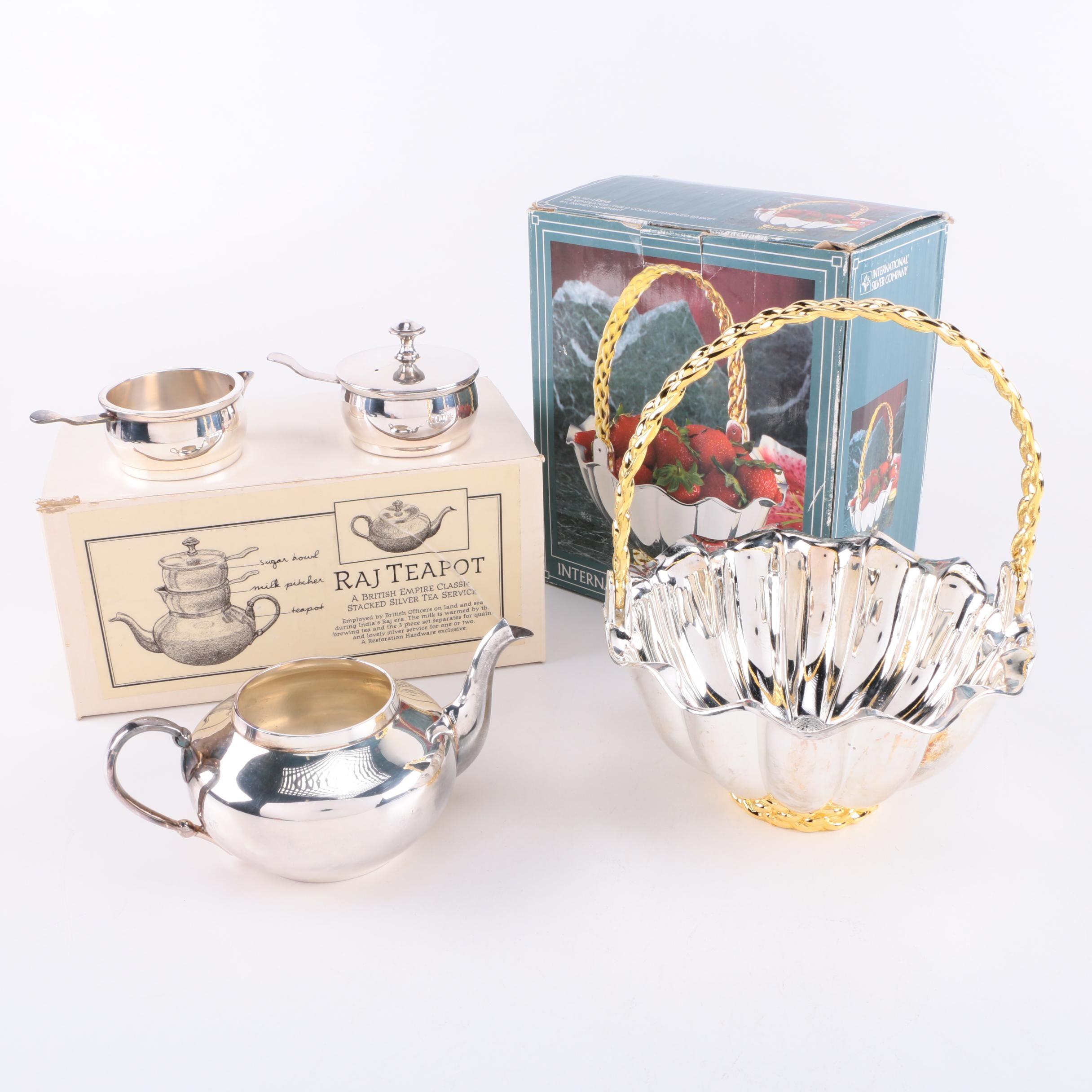 Raj Silver Plate Teapot and International Silver Co. Silver Plate Wedding Basket