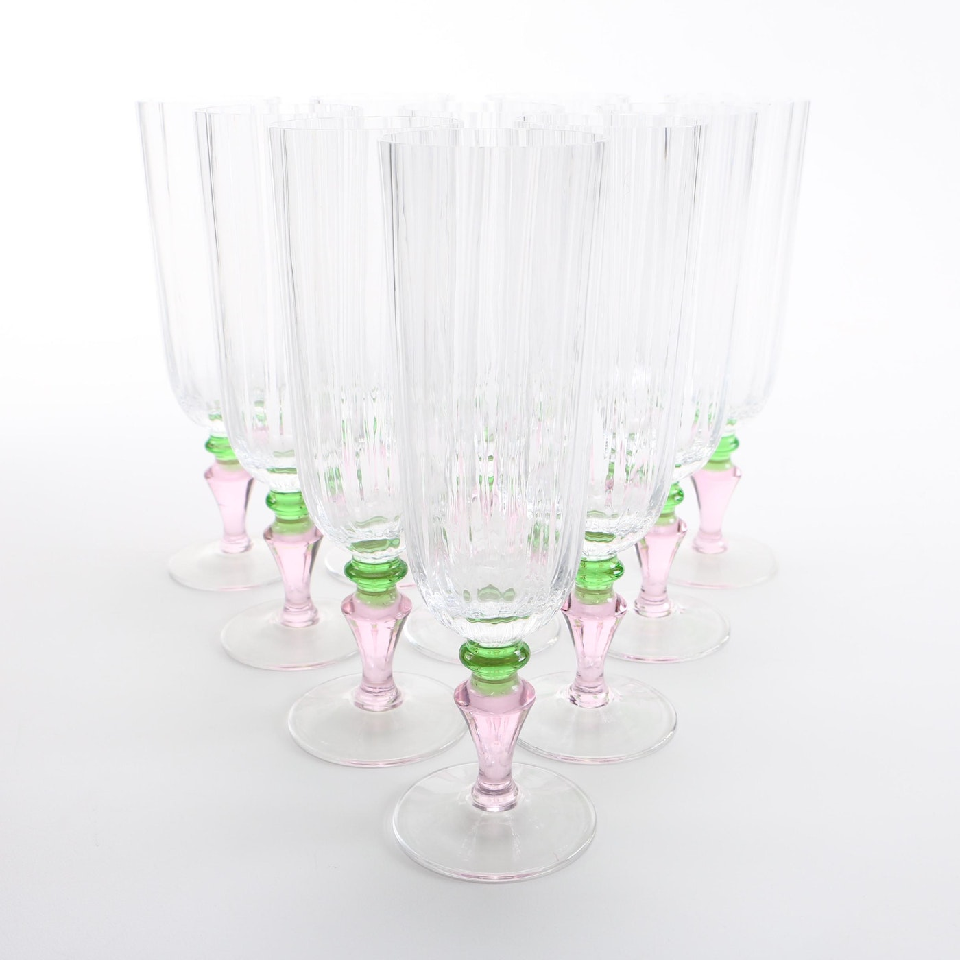 Set Of Hand Blown Murano Glass Champagne Flutes Ebth