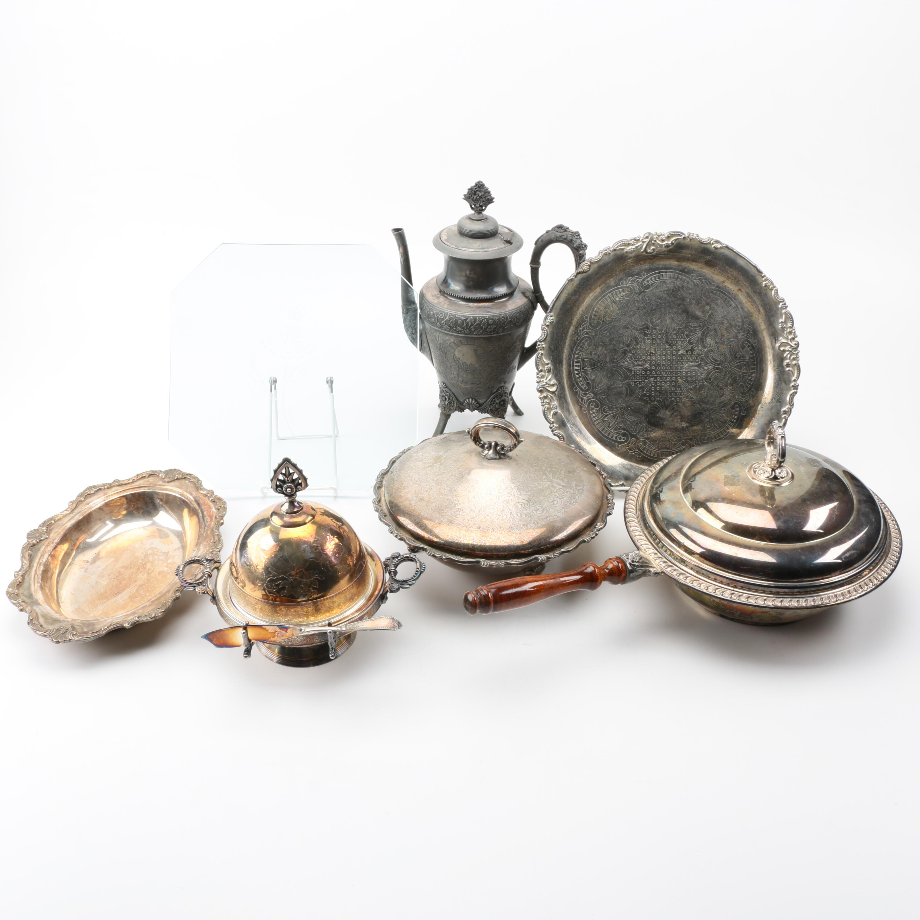 Assortment of Silver Plated Serving Pieces and Glass Tray