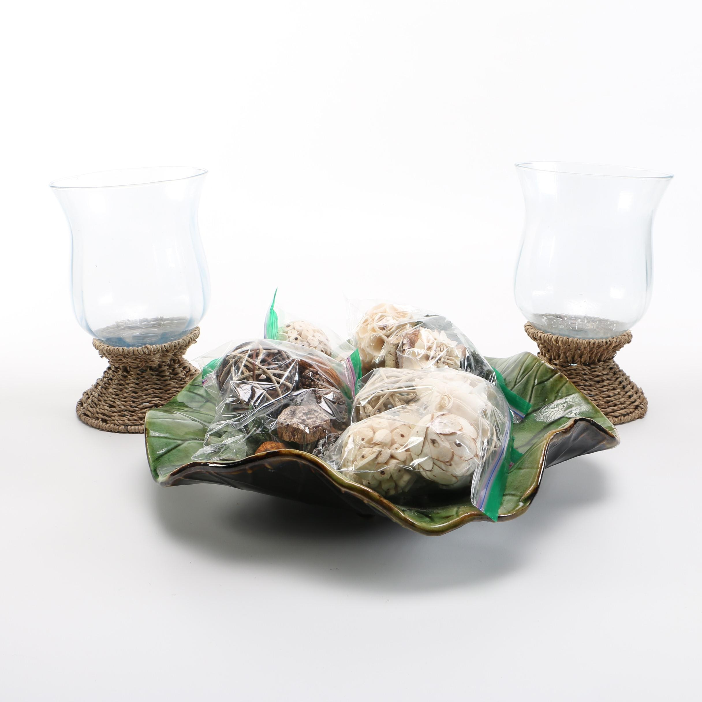 Pair of Candleholders and Lily Pad Centerpiece With Decorative Potpourri