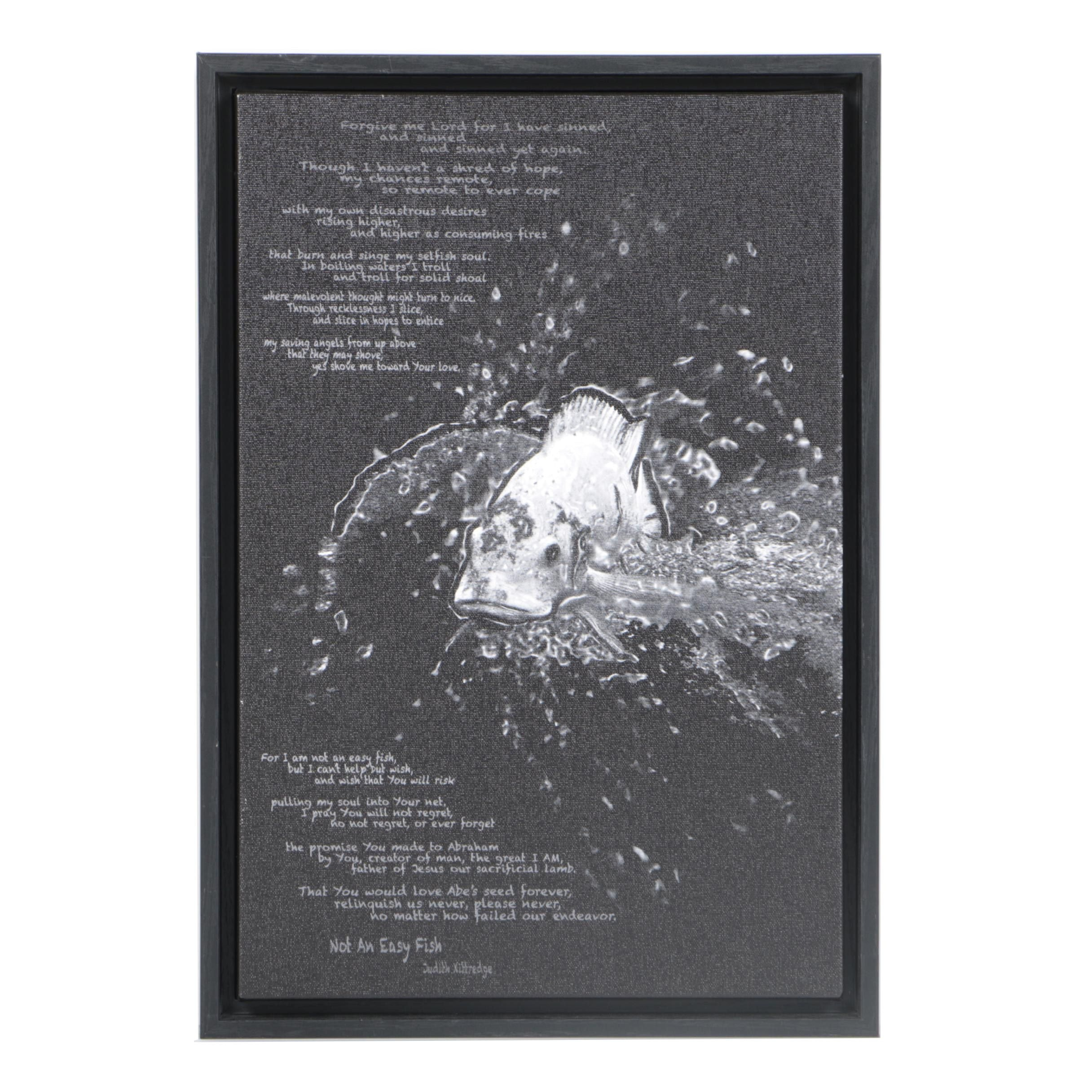"""Giclée Print on Canvas After Judith Kittredge's Poem """"Not an Easy Fish"""""""