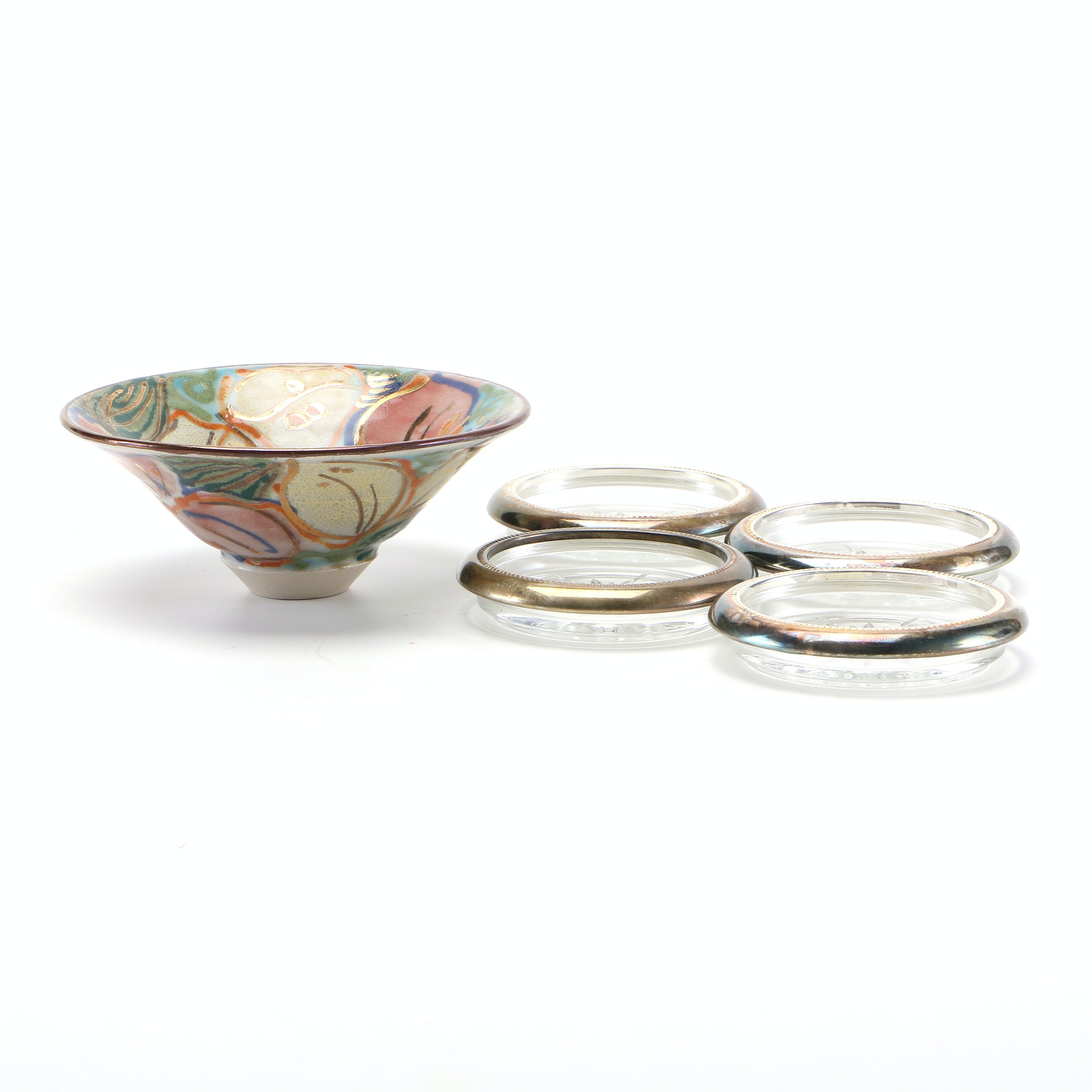 Glass and Silver Plate Coasters and Earthenware Pottery Bowl
