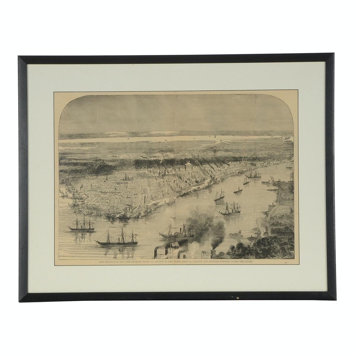 """Original 1884 Wood Engraving """"New Orleans in 1862"""""""