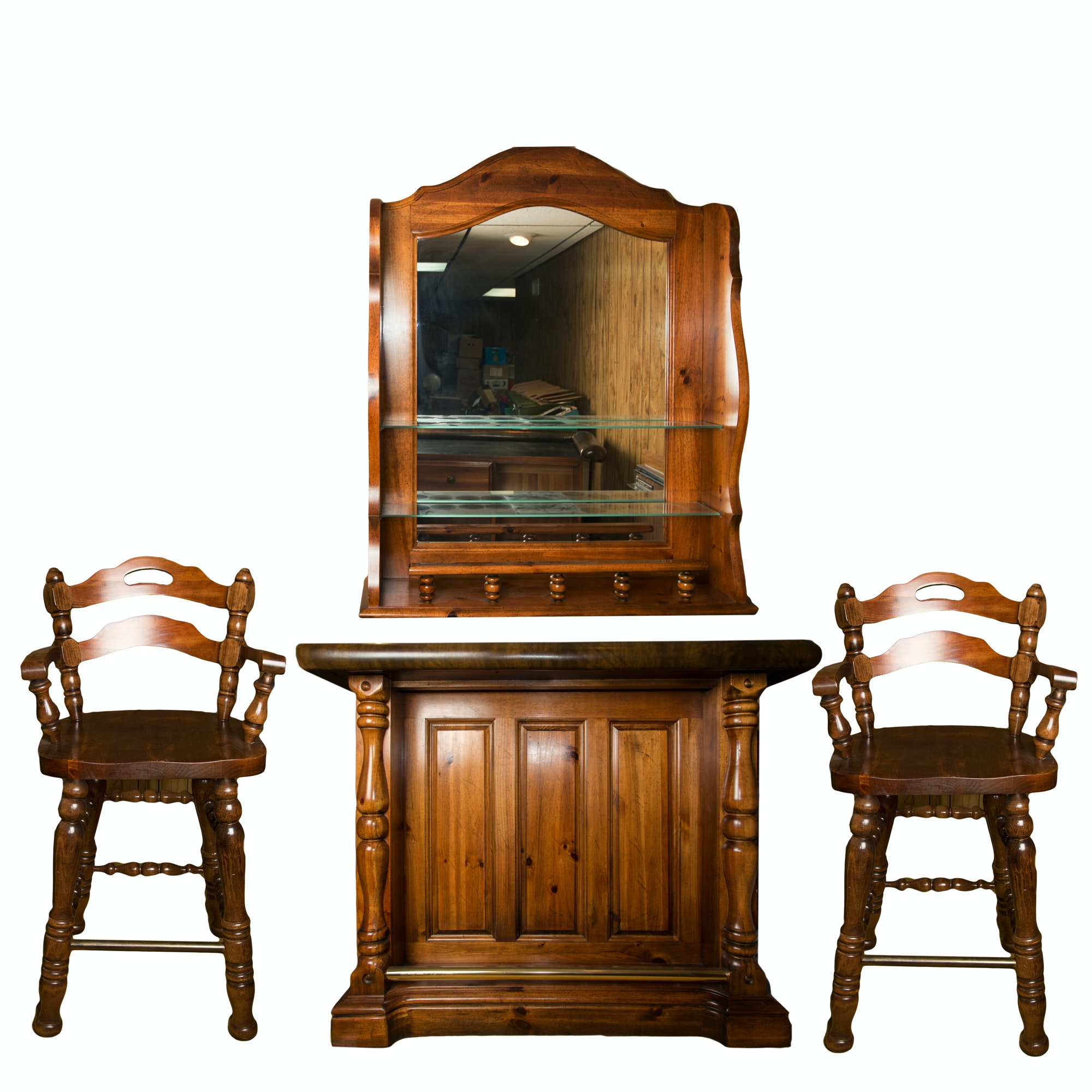 "Broyhill ""American Frontier"" Bar with Stools"