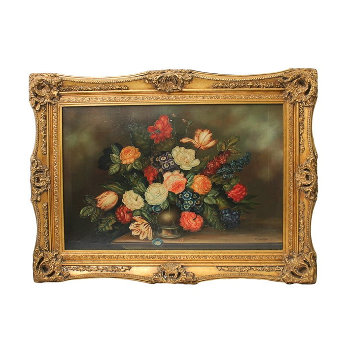 E. Grand Oil Painting on Canvas Floral Still Life