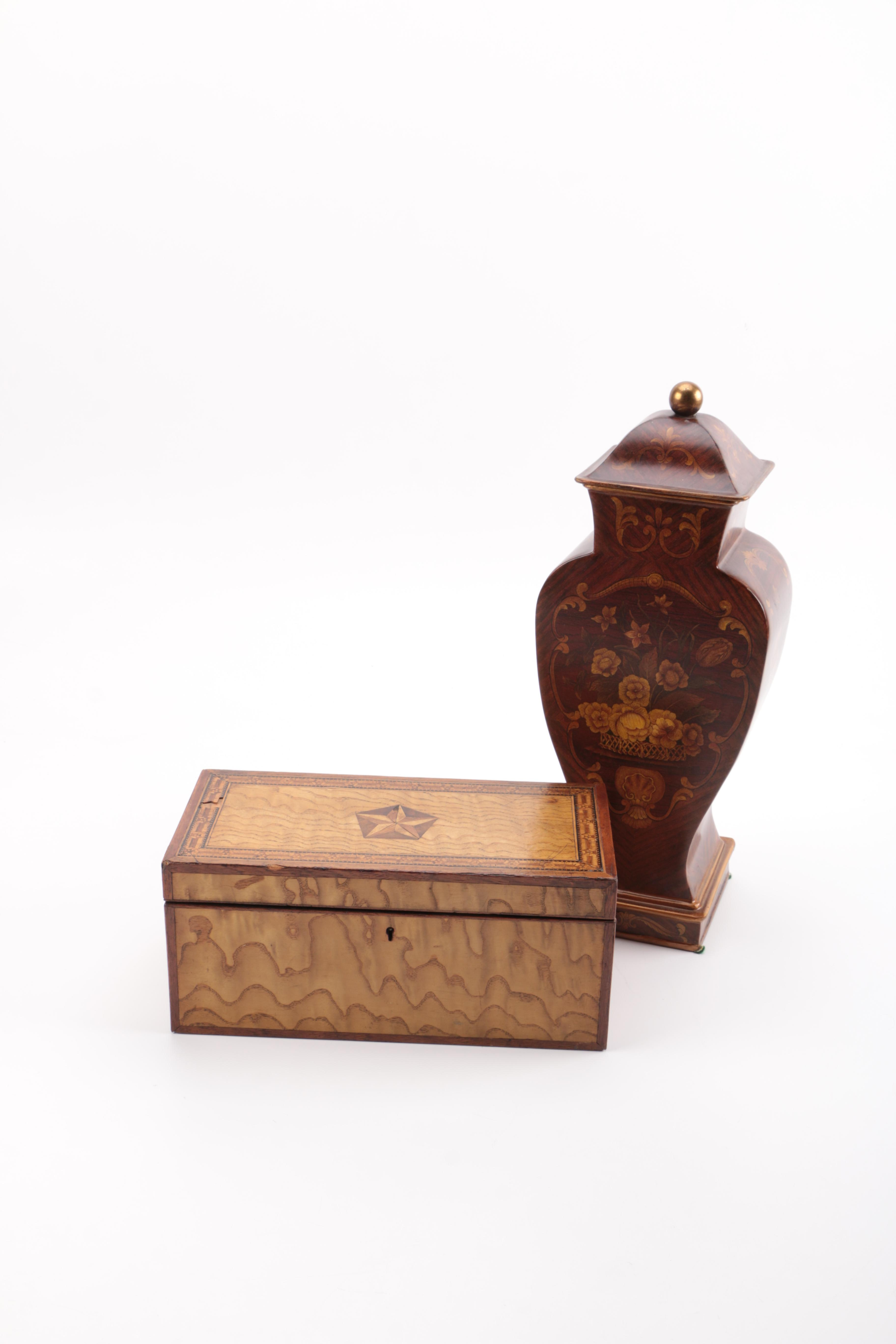 Decorative Inlay Chest and an Urn