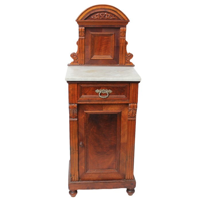 Marble Top Victorian Style Side Cupboard