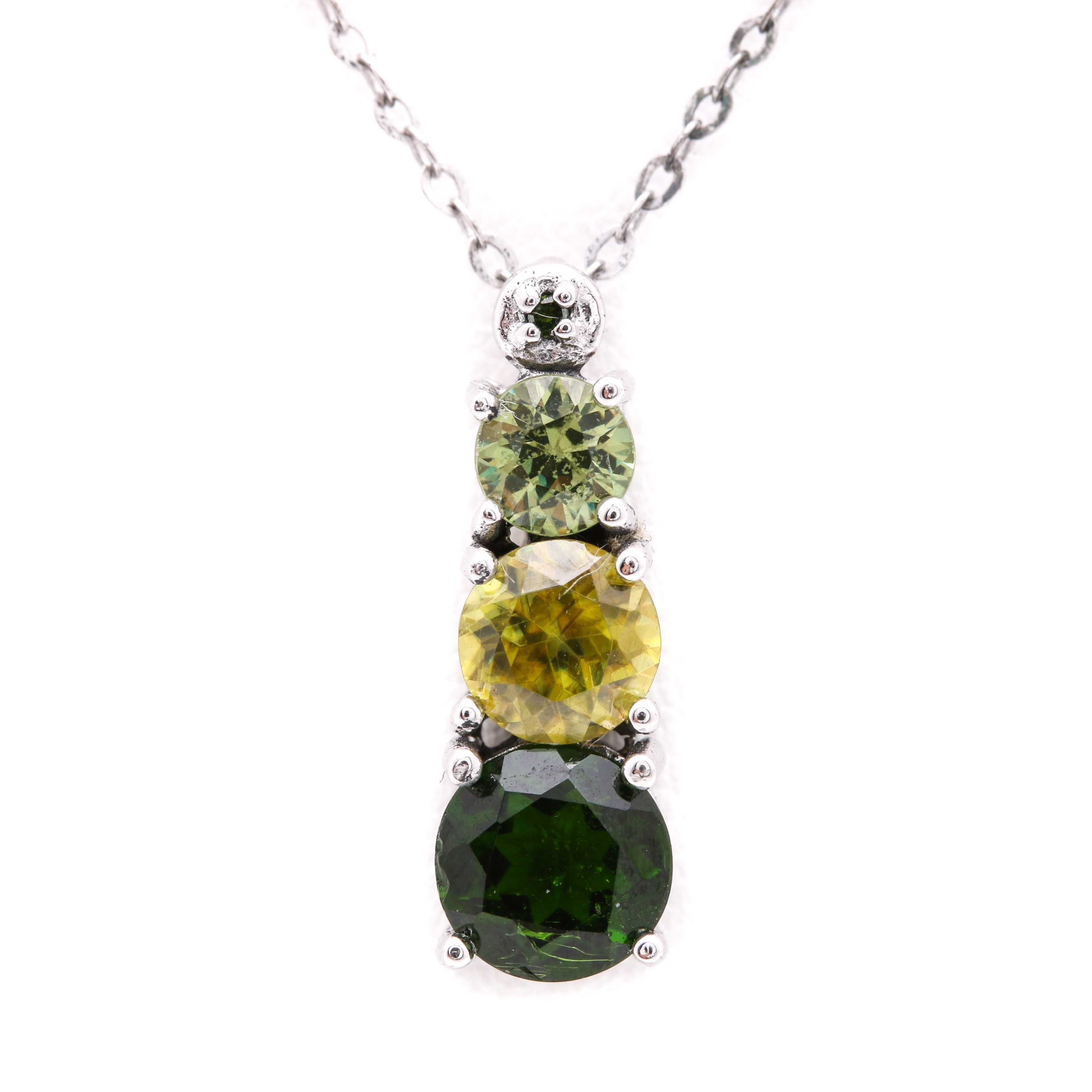 Sterling Silver Green Stone and Diamond Necklace