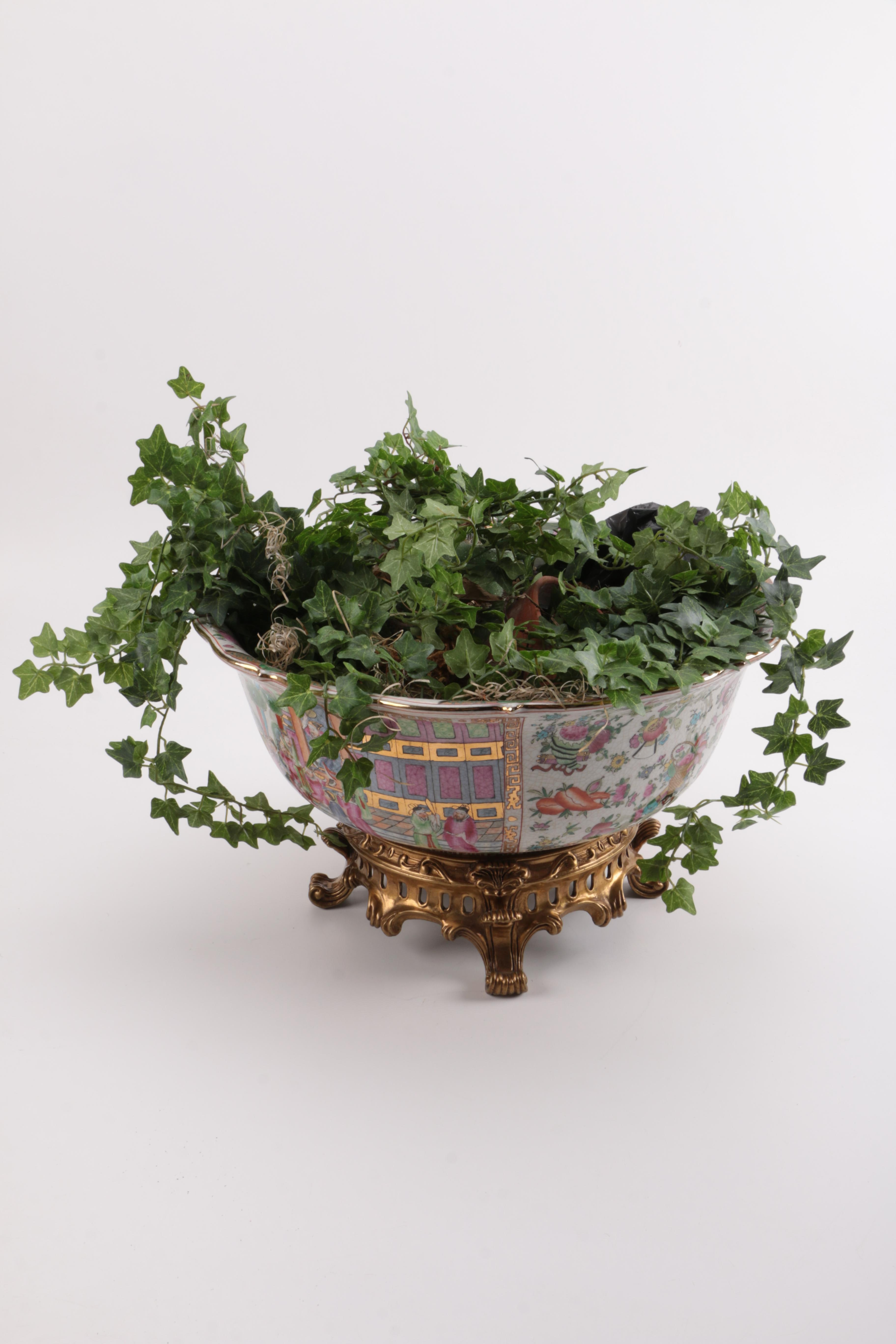 Chinese Hand Painted Ceramic Planter With Artificial Plant